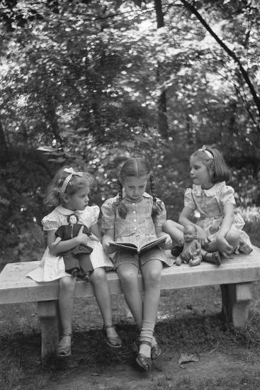 Girls Reading on Park Bench-Philip Gendreau-Photographic Print