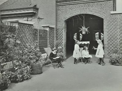 Girls Relaxing in a Roof Top Garden, White Lion Street School, London, 1912--Photographic Print