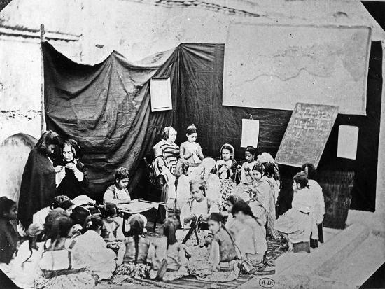 Girls' School in Algiers, C.1860 (B/W Photo)-Jacques Antoine Moulin-Giclee Print
