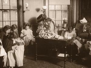 Girls Sewing Class With Teacher