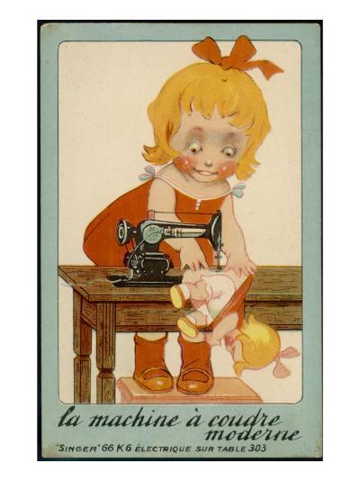 Girls Sews Doll--Giclee Print