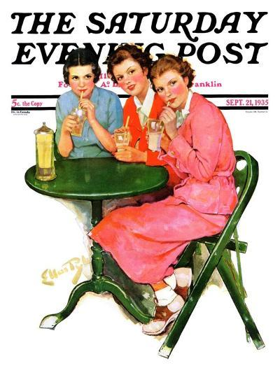 """""""Girls Sipping Sodas,"""" Saturday Evening Post Cover, September 21, 1935-Ellen Pyle-Giclee Print"""