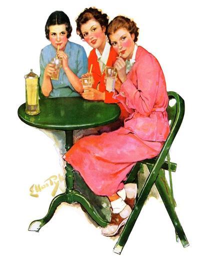 """Girls Sipping Sodas,""September 21, 1935-Ellen Pyle-Giclee Print"