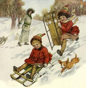 Girls Sledding with Dog