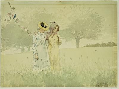 Girls Strolling in an Orchard, 1879-Winslow Homer-Giclee Print