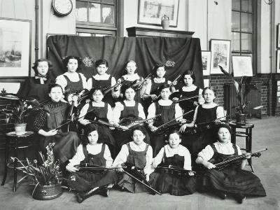 Girls Swimming Championship Team with their Shield, Tollington Park Central School, London, 1915--Photographic Print
