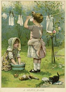 Girls Wash Dolls Clothes