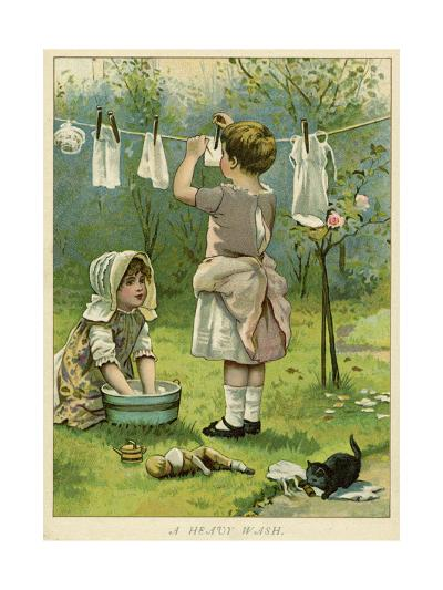 Girls Wash Dolls Clothes--Giclee Print
