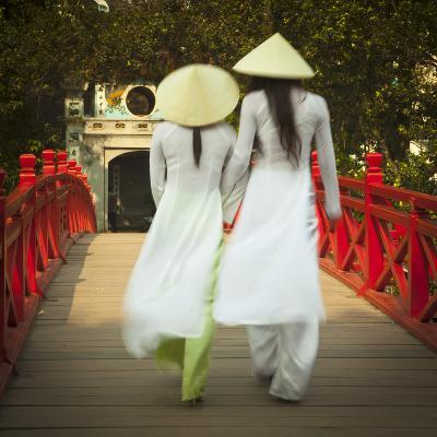 Girls Wearing Ao Dai Dress, Huc Bridge, Hoan Kiem Lake, Hanoi, Vietnam-Jon Arnold-Photographic Print