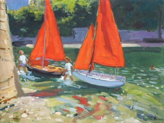 Girls with Sail Boats Looe, 2014-Andrew Macara-Premium Giclee Print