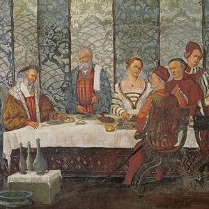 Banquet Given by Bartolomeo Colleoni for King Christian I of Denmark, 1520-30 by Girolamo Romanino