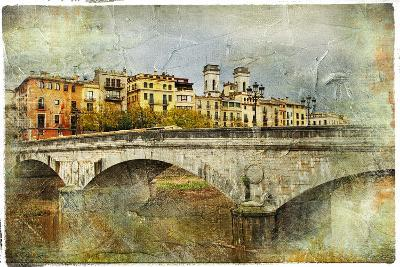 Girona, View With Bridge - Artistic Picture In Painting Style-Maugli-l-Art Print