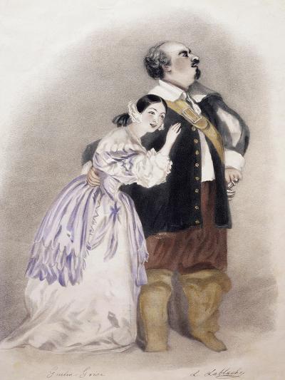 Giulia Grisi and Luigi Lablache in Roles of Elvira and George in Premiere of Opera I Puritani--Giclee Print