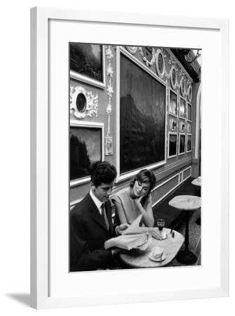 Giulio Bosetti and Lydia Alfonsi at the Antico Caffè Greco in Rome--Framed Photographic Print