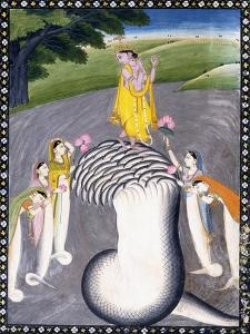Krishna Quelling the Hydra-Headed Snake, C.1790 (W/C on a Flecked Pink Page) by Giulio Carlini