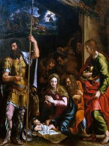 Adotation of the Shepherds with the Saints Longinus and John the Evangelist by Giulio Romano