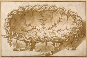 Design for an Oval Fruit Bowl, with Vine Tendrils, Leaves and Grapes by Giulio Romano