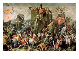 The Battle of Zama, 202 BC, 1570-80 by Giulio Romano