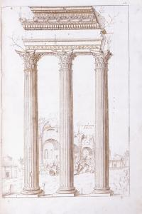The Columns of the Temple of Castor and Pollux by Giulio Romano