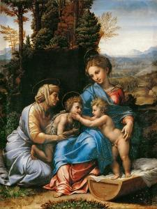 The Holy Family with John the Baptist as a Boy and Saint Elizabeth (La Petite Sainte Famill) by Giulio Romano