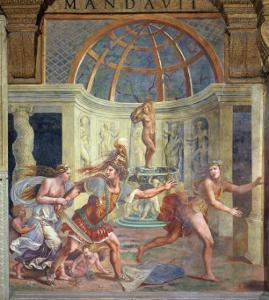 Venus, Whose Pricked Foot Stains the Petals of a Rose Red, with Mars Who Pursues Adonis by Giulio Romano