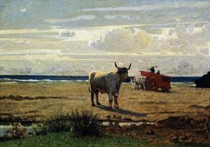 Oxen on Beach by Giuseppe Abbati