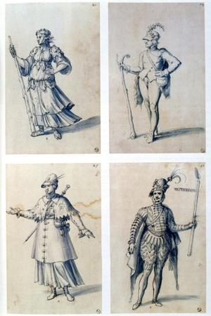Costume Designs for Allegorical Characters, 16th Century