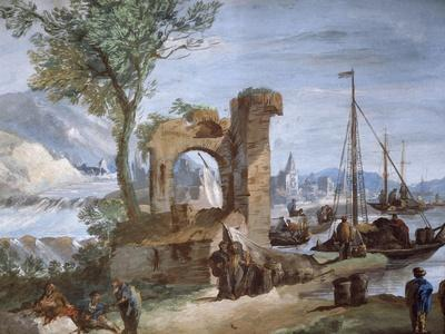 Imaginary View: Port with Ruins and Waterfall