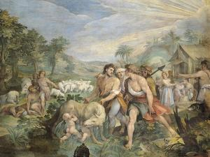 Romulus and Remus, Suckled by Wolf, Found by Faustulus on Banks of Tiber by Giuseppe Cesari