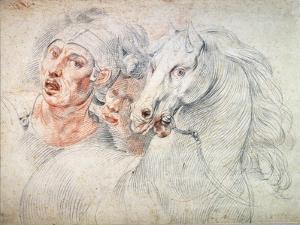 Study of a Horse and Two Soldiers, Early 17th Century by Giuseppe Cesari