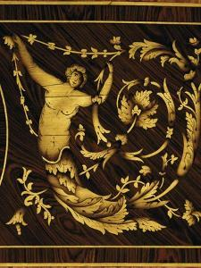 Classical Figure, Detail from Chest of Drawers in Walnut, Maple, Boxwood, Olive, Rose and Rosewood by Giuseppe Maggiolini