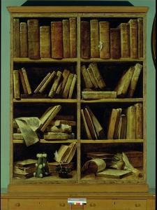 Trompe L'Oeil of a Bookcase, 1710-20 by Giuseppe Maria Crespi