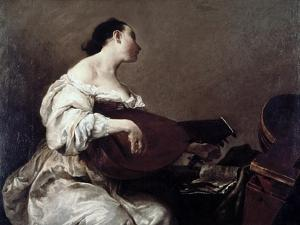 Woman Playing a Lute by Giuseppe Maria Crespi