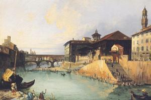 Ponte Vecchio and Tiratoio on the Arno River in Florence by Giuseppe Moricci