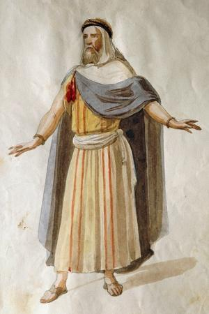 Costume Sketch by Filippo Peroni for the Role of an Old Member of the Chorus in the Opera Nabucco