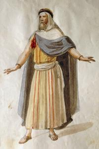 Costume Sketch by Filippo Peroni for the Role of an Old Member of the Chorus in the Opera Nabucco by Giuseppe Verdi