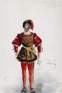 Costume Sketch by Lepic for Role of Count of Ceprano in Premiere of Opera Rigoletto by Giuseppe Verdi