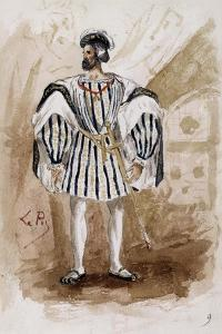 Costume Sketch by Lepic for Role of Count of Monterone in Premiere of Opera Rigoletto by Giuseppe Verdi