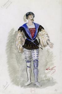 Costume Sketch by Lepic for Role of Duke of Mantua in Premiere of Opera Rigoletto by Giuseppe Verdi