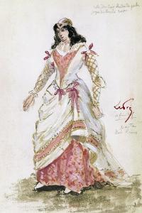 Costume Sketch by Lepic for Role of Gilda in Premiere of Opera Rigoletto by Giuseppe Verdi