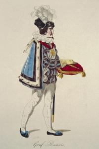 Costume Sketch for Count Dunois in Opera Joan of Arc by Giuseppe Verdi