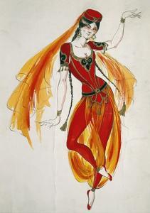 Costume Sketch for Persian Dancer in Opera Luisa Miller, 1849 by Giuseppe Verdi
