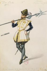 Costume Sketch for Role of an Archer of Henry II of France for Premiere of Opera Don Carlos by Giuseppe Verdi