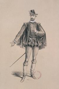 Costume Sketch for Role of Marquis of Posa for Premiere of Opera Don Carlos by Giuseppe Verdi