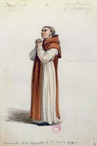 Costume Sketch for Role of Monk for Premiere of Opera Don Carlos by Giuseppe Verdi