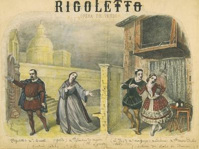 "France, Paris, Lithograph Depicting Final Act of ""Rigoletto"""