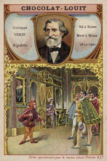 Giuseppe Verdi, Italian Composer, and a Scene from His Opera Rigoletto--Giclee Print