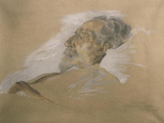 Giuseppe Verdi on His Deathbed-Adolfo Hohenstein-Giclee Print