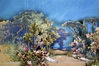 Set Design by Amable Petit and Eugene-Benoit Gardy Depicting Palace Gardens
