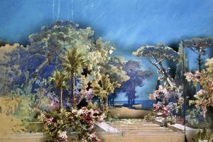 Set Design by Amable Petit and Eugene-Benoit Gardy Depicting Palace Gardens by Giuseppe Verdi